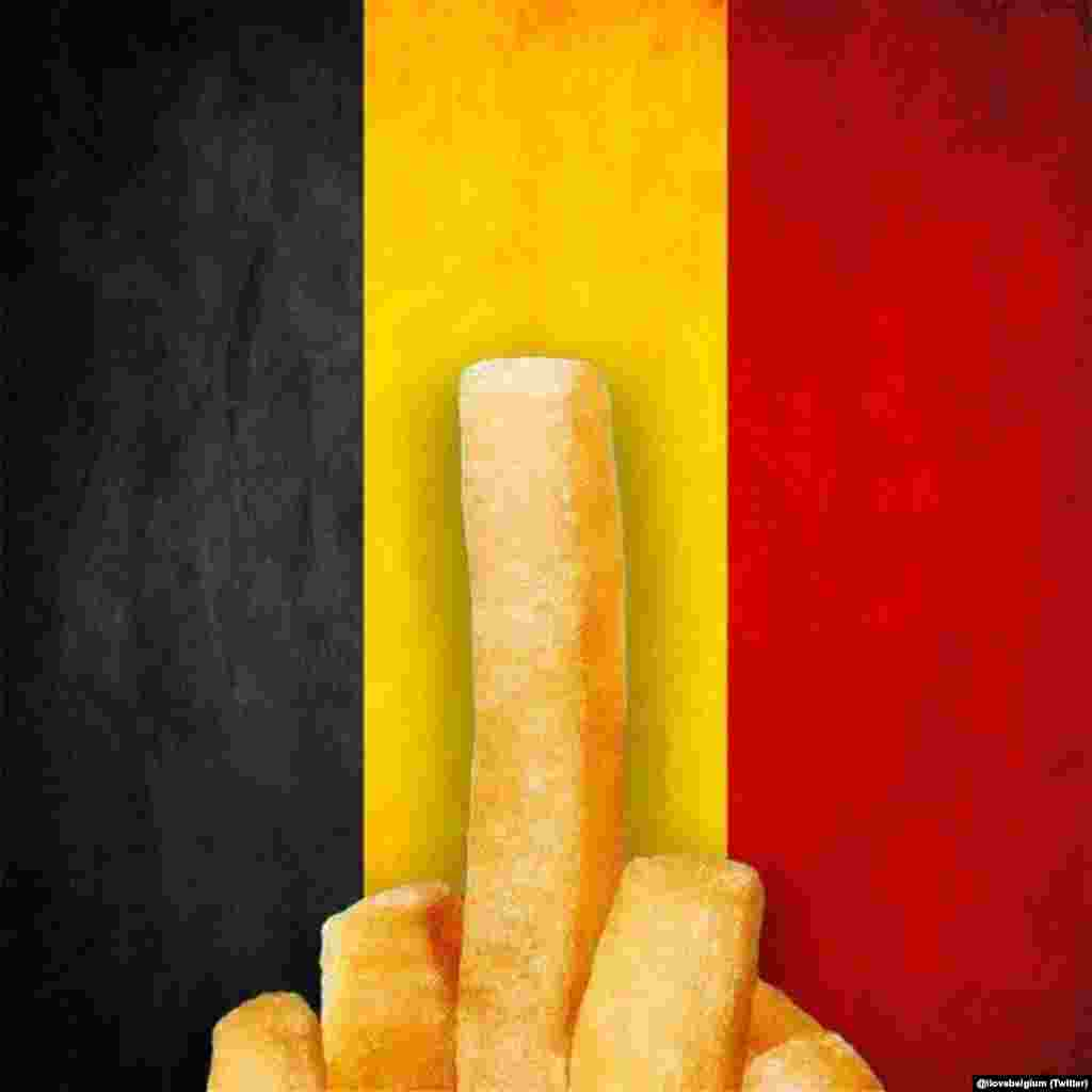 "This cartoon used the Belgian flag as well as traditional Belgian ""pommes frites"" to make its point. (Social-media generated content, via @ilovebelgium)"
