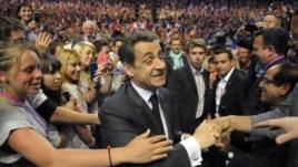 Nicolas Sarkozy na predizbornom skupu