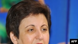 Shirin Ebadi speaks at a news conference in Seoul
