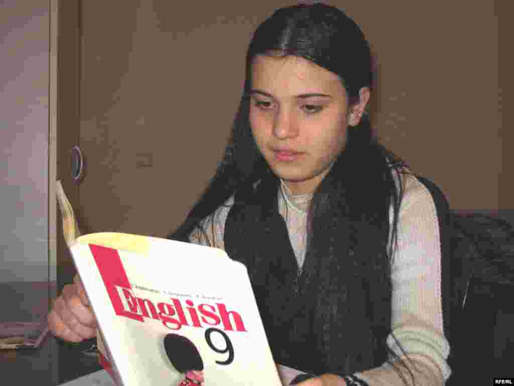 """Inga has chosen to study English instead of Russian. While she hopes to become an economist, she says thinks her parents had more opportunities to study. """"Even though now I do well in school, I can't enter university unless I have private classes to get prepared for my entrance exam."""""""