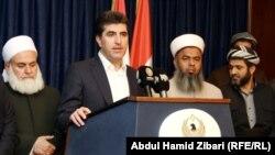 نيجيرفان بارزاني ورجال دين في مؤتمر صحفي بأربيل