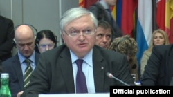 Austria/OSCE/Armenia - Edward Nalbandian, Armenian Foreign Minister, addresses the OSCE Permanent Council's special meeting, Vienna,11Mar,2015
