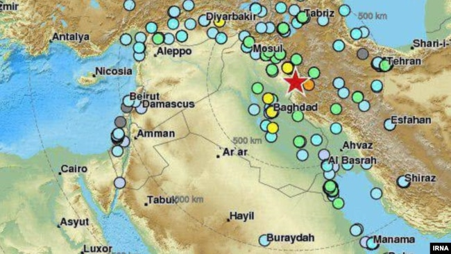 powerful earthquake struck near the iran iraq border on november 12 map