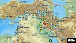 Иран-Ирак шекарасындағы жер сілкінісі болған аймақтың картадағы орны (қызыл жұлдызшамен белгіленген). 12 қараша 2017 жыл.