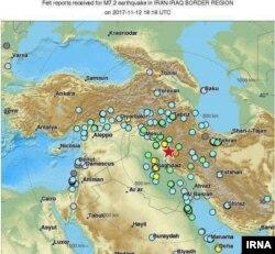 خبرگزاری ایرنا این تصویر را از مناطقی که زمینلرزه به آنها خسارت زده یا در آنها احساس شده منتشر کردهاست