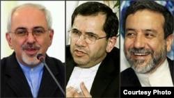 از چپ: محمد جواد ظریف، مجید تخت روانچی و عباس عراقچی
