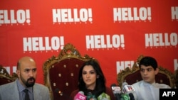 """Consulting editor Wajahat Khan (left), CEO and publisher Zahraa Saifullah (center), and chief copywriter Rayan Khan (right) discuss the launch of a Pakistani edition of """"Hello"""" magazine at a press conference in Islamabad."""