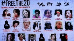 #FreeThe20 campaign poster showcasing 20 women political prisoners whose release is being sought.