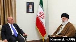 Iran's supreme leader, Ayatollah Ali Khamenei (R) meets with Iraqi Prime Minister Haider al-Abadi in Tehran, October 26, 2017