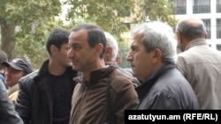 Armenia -- Protest action of employees of Nairit plant in Yerevan. 27Oct., 2016
