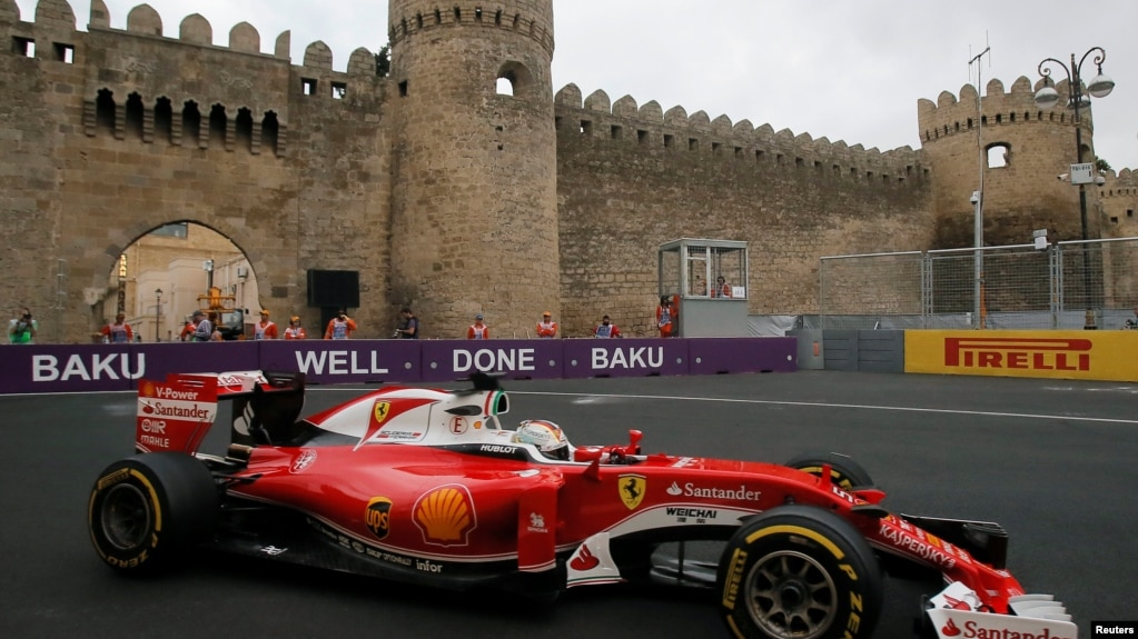 Formula One Ferrari driver Sebastian Vettel of Germany during a practice session at Baku's first Grand Prix in 2016. Vettel finished second in the race.