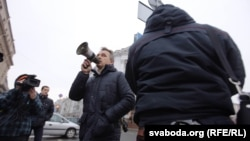 Анатоль Лябедзька на акцыі 18 студзеня