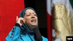 Maryam Rajavi, leader of the Mujahedin Khalq Organization, at a demonstration against the Iranian government in Brussels in 2007.