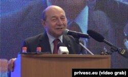 Fostul președinte român, Traian Basescu, în campanie pentru europarlamentre la Chișinău, 14 aprilie 2019