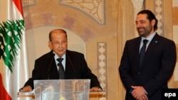 Саад Харири (справа) и Мишель Аун (архивное фото)