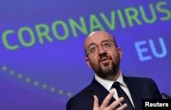 Глава Европейского совета Шарль Мишель выступает на пресс-конференции по борьбе с коронавирусом в ЕС