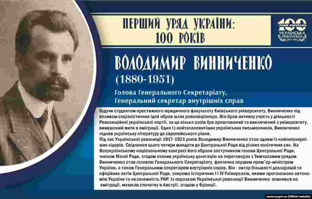 Володимир Винниченко, голова Генерального Секретаріату, а водночас генеральний секретар внутрішніх справ