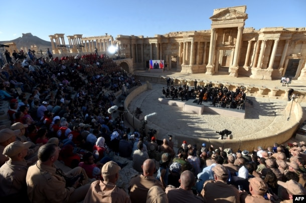 Russian conductor Valery Gergiyev leads a concert in the amphitheater of the ancient city of Palmyra on May 5.