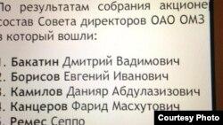 Uzbekistan - list of Board of directors of Gazprombank, photo taken from Gulnara Karimova's twitter