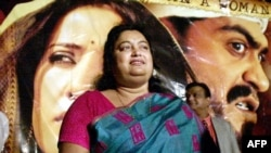 "A photograph taken in December 2002 of Indian author Sushmita Banerjee at a press conference announcing the launch of the movie ""Escape From Taliban"" in Mumbai."