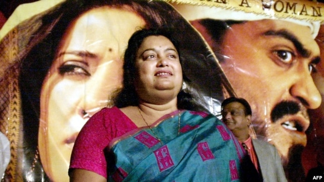 A photograph taken in December 2002 of Indian author Sushmita Banerjee at a press conference announcing the launch of the movie 'Escape From Taliban' in Mumbai.