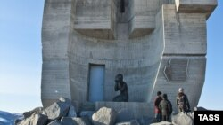 A section of the massive Mask Of Sorrow monument near the city of Magadan (file photo)