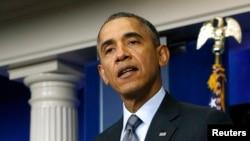 Президент США Барак Обама выступает с заявлением по поводу ситуации на Украине