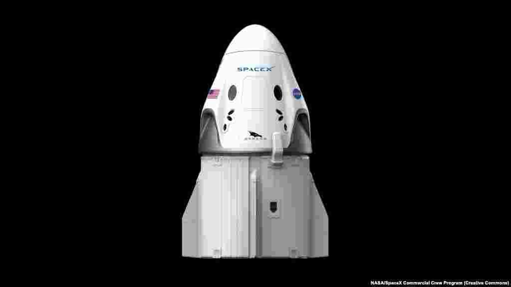 Це – капсула SpaceX Crew Dragon на своїй вантажній «скрині». Космічний апарат повинен доправити двох американських астронавтів на Міжнародну космічну станцію (МКС) 27 травня