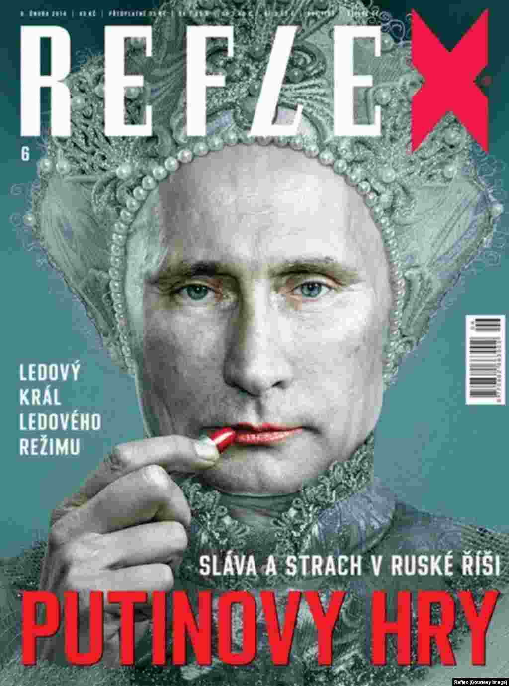 """Reflex,"" a Czech weekly magazine, portrays Putin as an effeminate ice king for its cover story on ""Glory and Fear in the Russian Empire."""