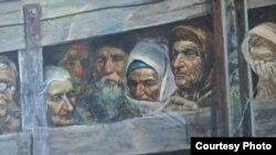 """Картина """"Поезд смерти"""", изображающая депортированных татар."""