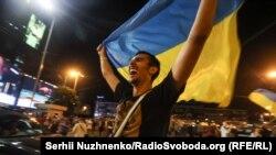 Реакция киевских болельщиков на победу сборной Украины (фотогалерея)
