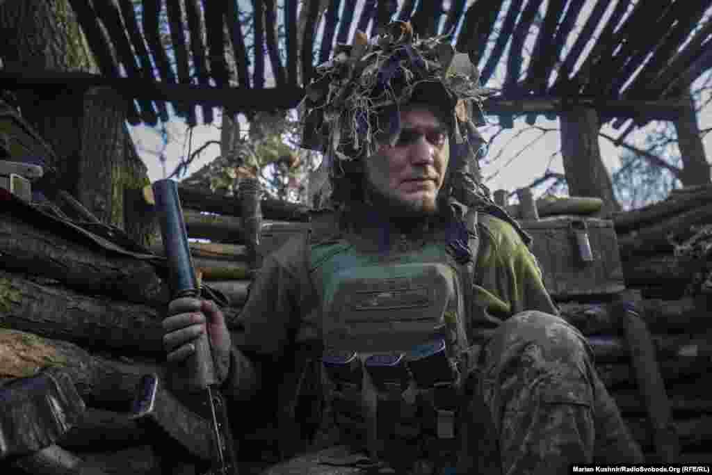 Украинский солдат на передовой в районе Горловки Донецкой области