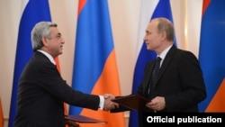 Ermənistan prezidenti S. Sarkisian Rusiya prezidenti V. Putinlə Gömrük İttifaqı haqda sənədi imzaladıqdan sonra