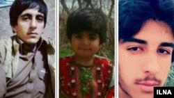 از چپ به راست: حمزه بامری، حسنی بامری سه ساله، و یعقوب بامری ۲۳ ساله که در تیراندازی ماموران پلیس به خودرو یک متهم کشته شدند.