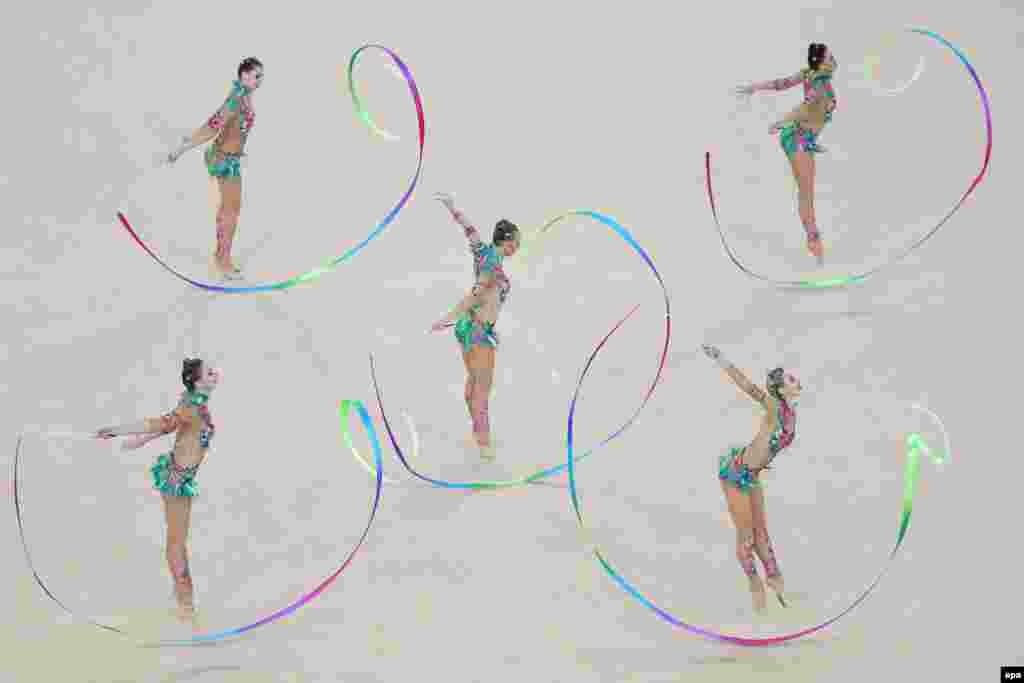 Russia won its fifth straight Olympic gold medal in the group all-around rhythmic gymnastics event.