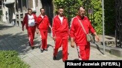 (Right to left) Nazim Ajdini, Liridon Basha, Jahi Mustafa, and Xhevdet Shabani walked some 2,500 kilometers from Pristina to Brussels to promote the cause of visa-free travel for Kosovo nationals to the EU.