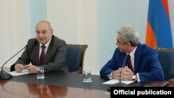 Armenia - President Serzh Sarkisian (R), meets with Vazgen Manukian and other members of the Public Council, Yerevan, 24Jul2014.