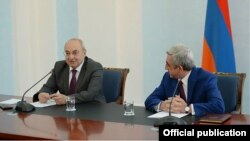 Armenia - Serzh Sarkisian (R), President of Armenia, and Vazgen Manukian, Chairman of Public Council, Yerevan,24Jul,2014