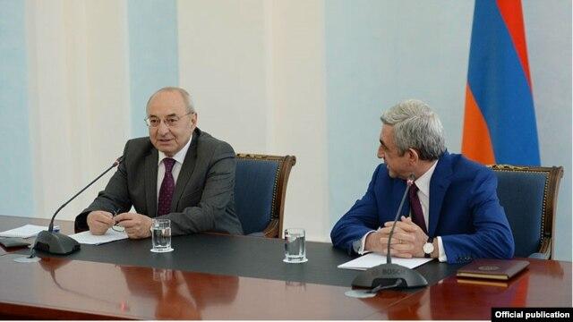 Armenia - Serzh Sarkisian (R), President of Armenia, and Vazgen Manukian, Chairman of Public Council, Yerevan,24Jul,2014