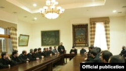 Armenia -- Catholicos Garegin II meets with clergymen serving as army chaplains, 15Feb2011.