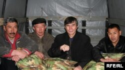 The hunger striking activists on in Almaty on May 2