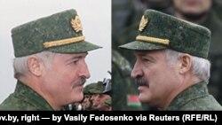 Зьлева: Аляксандар Лукашэнка на фота з president.gov.by, справа на фота Васіля Федасенкі для Reuters