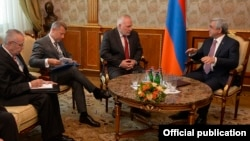 Armenia - President Serzh Sarkisian meets with the co-chairs of the OSCE Minsk Group in Yerevan, 10Jun2017.