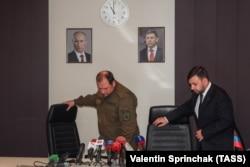 Дмитрий Трапезников и Денис Пушилин на экстренном брифинге, посвященном гибели главы ДНР Александра Захарченко