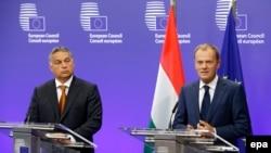 Kryeministri hungarez Viktor Orban dhe Presidenti i Këshillit të Evropës, Donald Tusk, në konferencë të përbashkët në Bruksel.