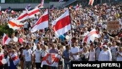 Оппозиционный к Лукашенко марш за свободу в Минске, 16 августа 2020 года