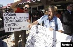 Протесты кубинских иммигрантов в Майами против соглашения с Кубой. 17 декабря