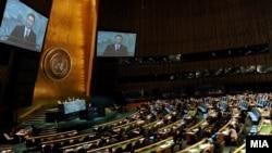 Обраќање на премиерот Груевски на 66. Генерално собрание на ОН, 2011.