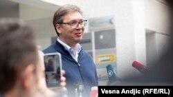 Александр Вучич в день голосования на парламентских выборах. Белград, 21 июня 2020