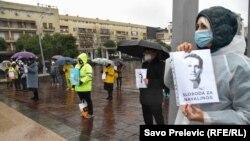 Црна Гора - Подгорица: Граѓание протестираат против притворањето на рускиот активист Алексеј Навални. 31 јануари 2021 година.